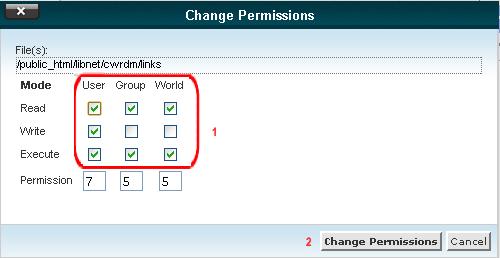 تغییر دسترسی فایل config